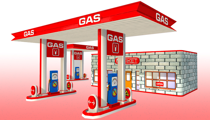 Toon Textured Gas Station