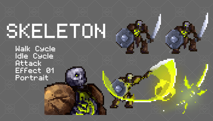 Skeleton Pixel Character Set