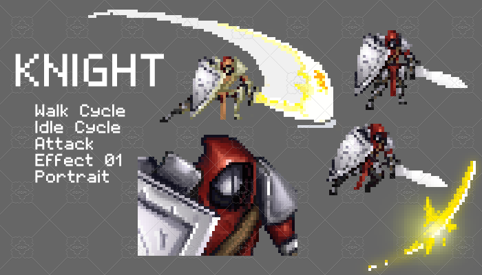 Knight Pixel Character Set