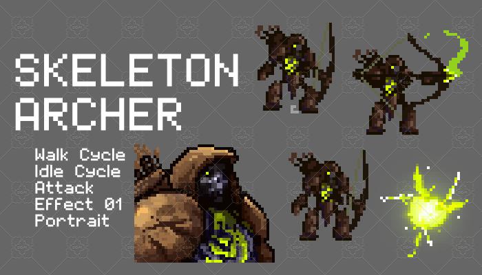 Skeleton Archer Pixel Character Set