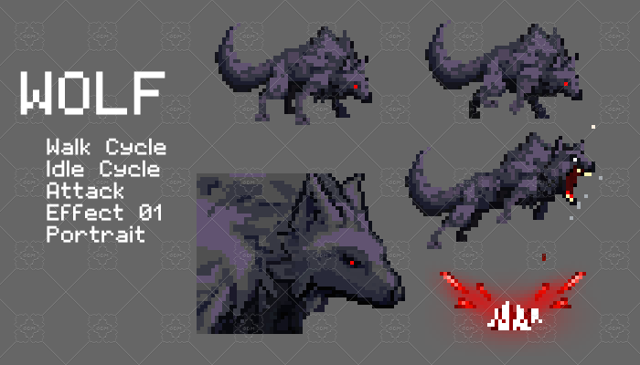 Wolf Pixel Character Set
