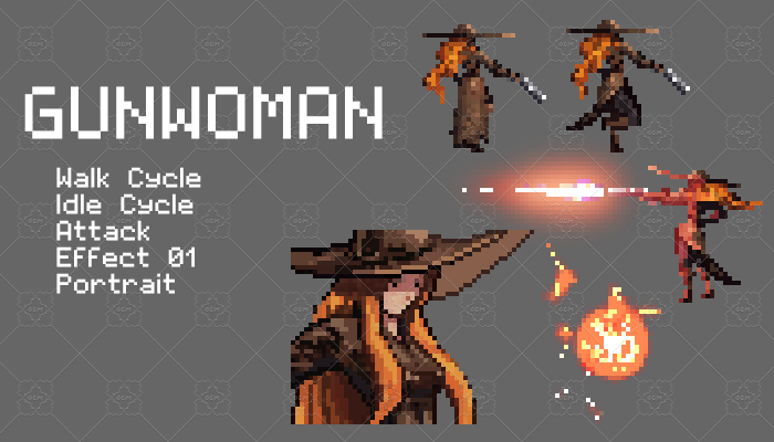 Gun Woman Pixel Character Set