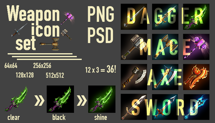 Set icons of weapons for the game