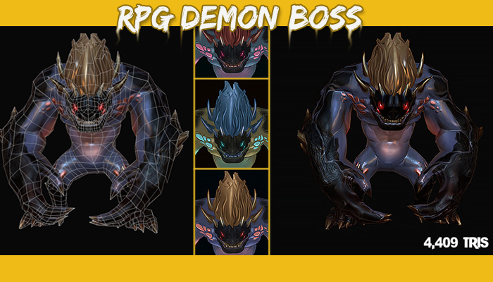 RPG Demon Boss PBR and Stylized