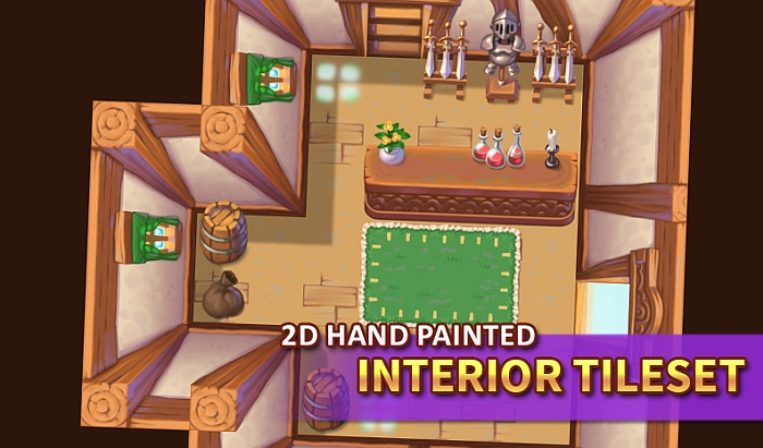 2D Hand Painted – Interior Tileset
