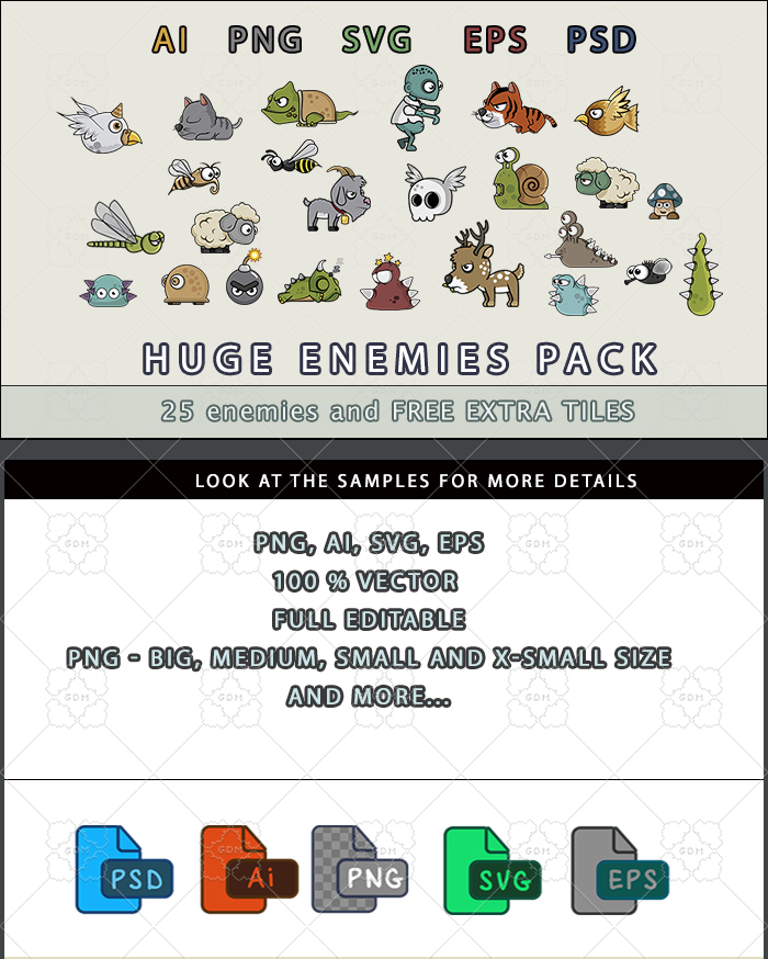 Enemies huge pack and FREE tiles