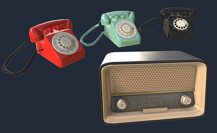 Vintage 50s Radio and Phone