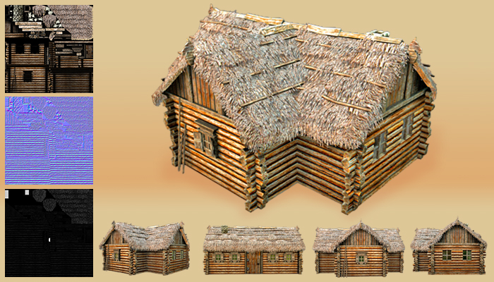 Wooden Thatch House T-Shaped