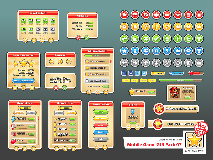 Mobile Game GUI Pack 07