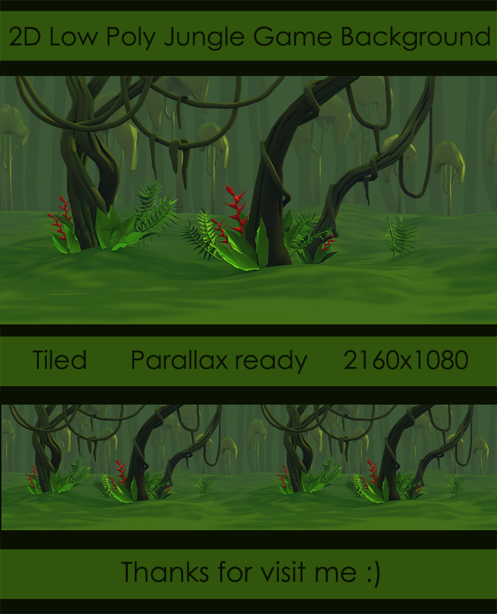2D Low Poly Jungle Game Background