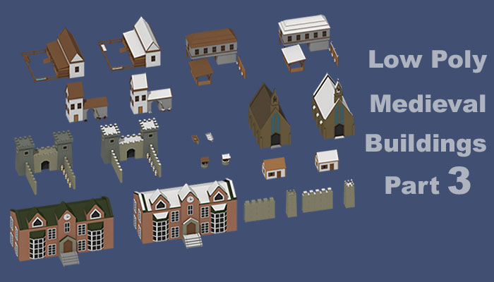 Low Poly Medieval Buildings 3 Set