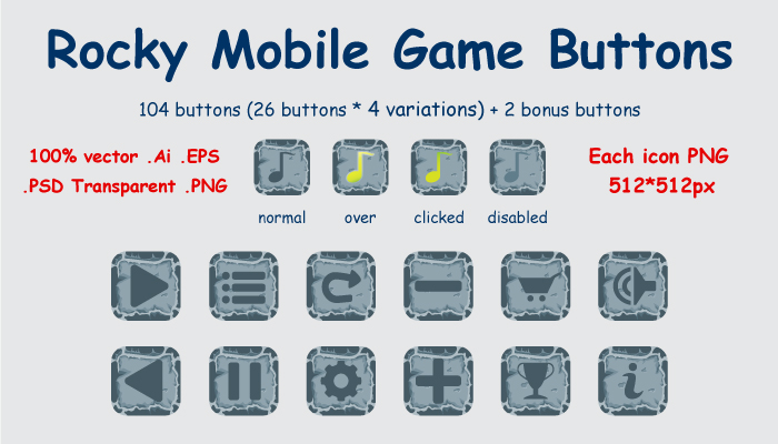Rocky Mobile Game Buttons