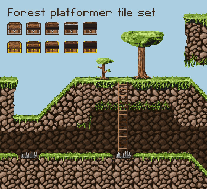 Pixel Art Forest Tileset – platforms