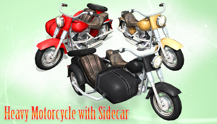 Heavy Motorcycle with Sidecar