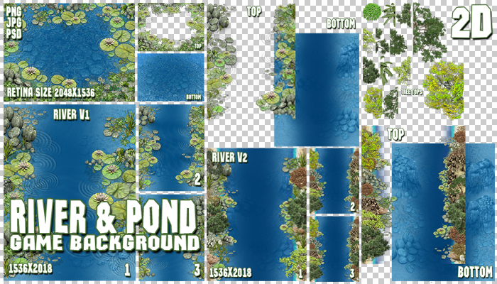 2D River and Pond Game Backgrounds Pack