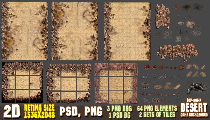 2D Desert Game Backgrounds Pack