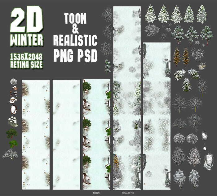 2D Toon and Realistic Winter Game Backgrounds