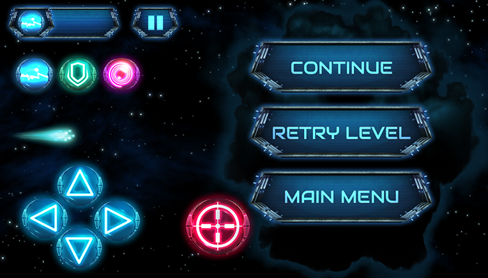 Space game buttons, power ups.