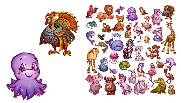 Vector set of cute animals for pets alphabet. Lion, rhino, giraffe and