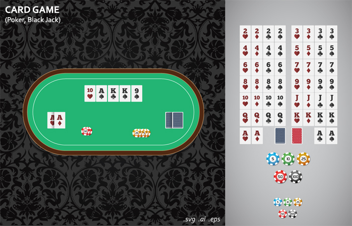 Black Jack, Poker, Card Game in Vector