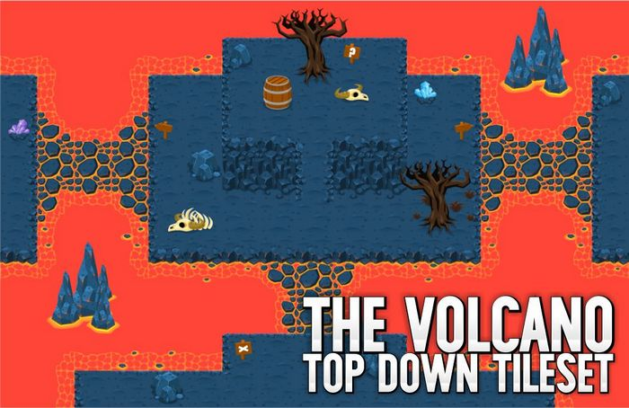 The Volcano – Top Down Tileset