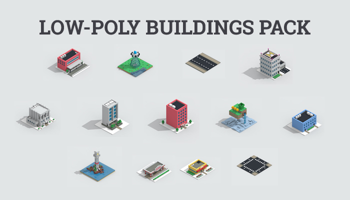 Low-poly 13 buildings pack