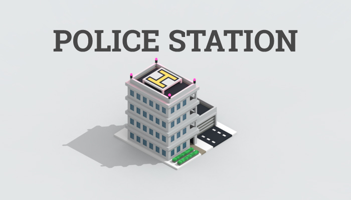 Low-poly police station