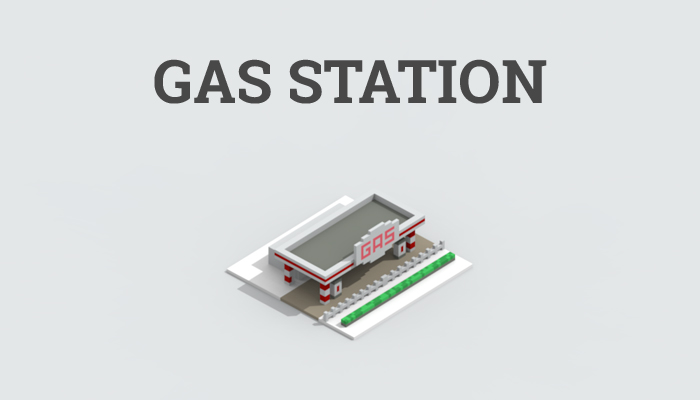 Low-poly gas station