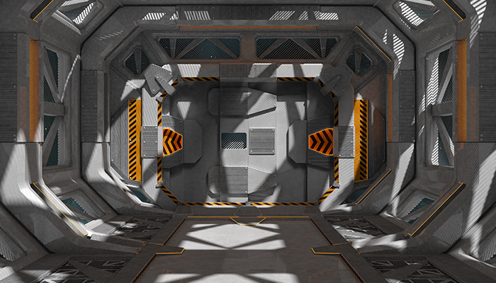 Spaceship Interior. Space station grey design.