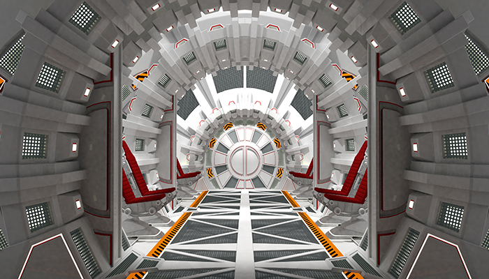 Spaceship. White rounded interior.