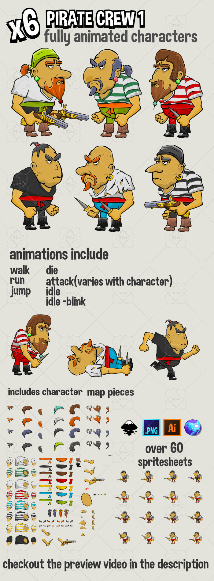 Six animated pirate crew characters