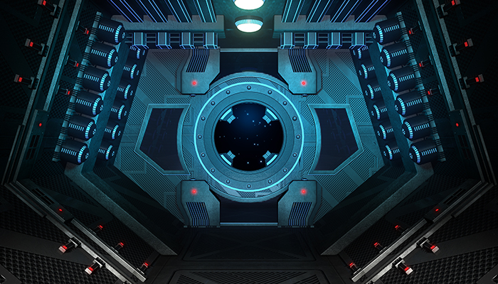 Spaceship interior. Game menu.