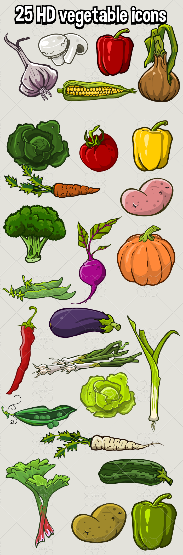 25 hd vegetable Icon packs