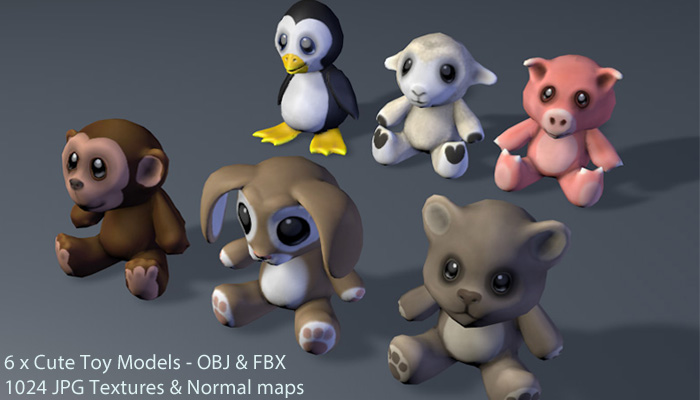 Cute Toy 3D Animal Toy Models x 6