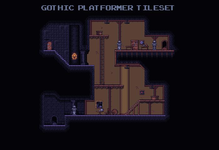 Gothic Platformer Tileset