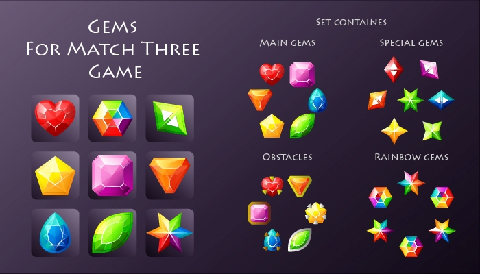 Gems For Match Three Game
