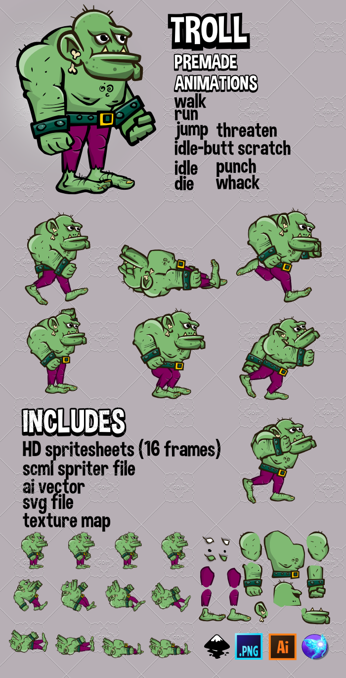 Animated troll character