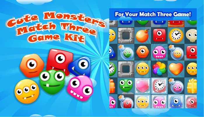Cute Monsters Match Three Game Kit