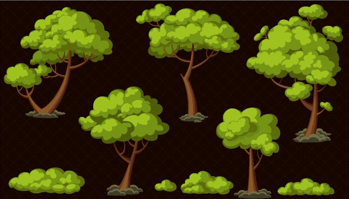 Tree and Bush set