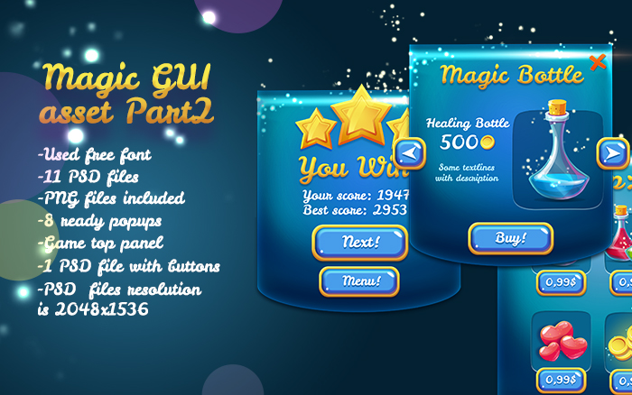 Magical Glossy Blue Game UI Pack
