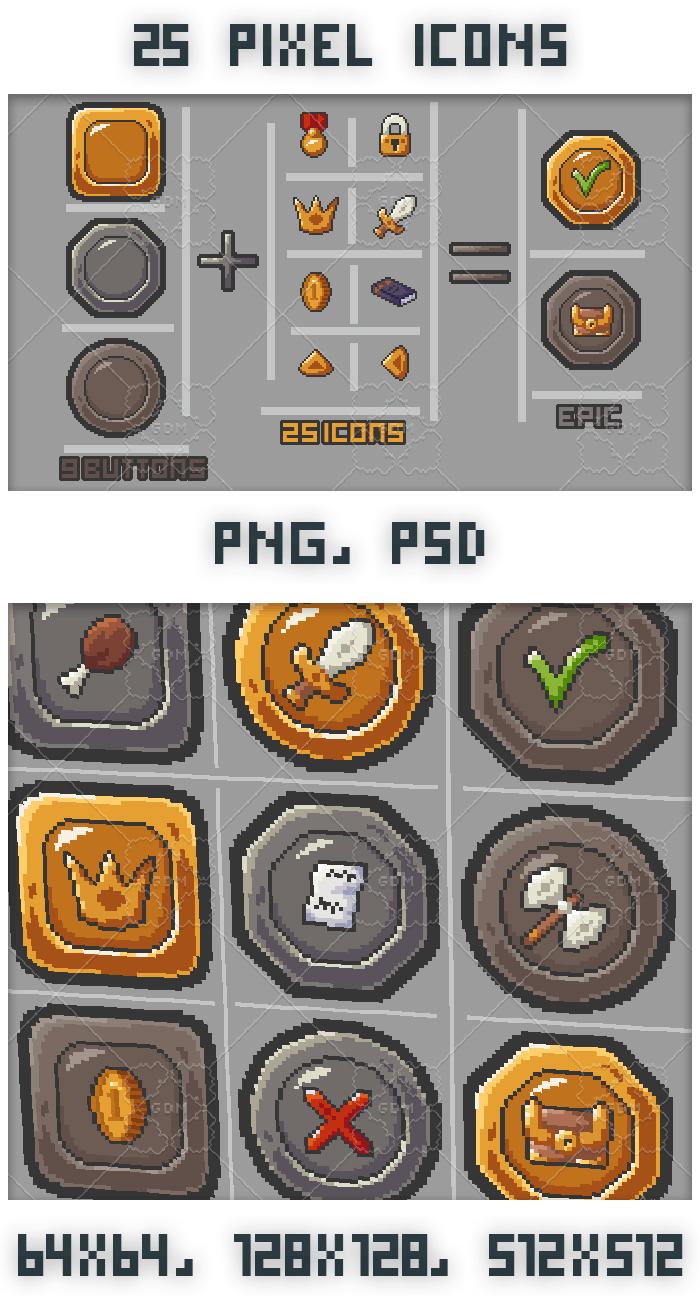 25 Pixel art RPG icons