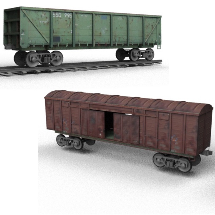 Freight Railroad Car and Rails