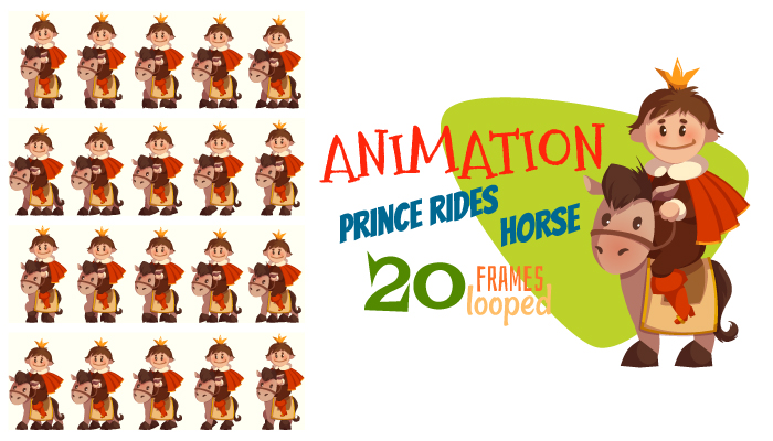 Prince rides horse. Animation