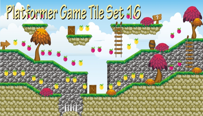 platformer game tile set 16