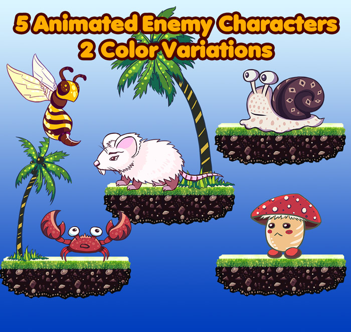 5 Animated Enemy Characters – 2 Color Variations