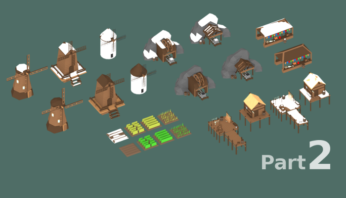 Low Poly Medieval Buildings 2 Set