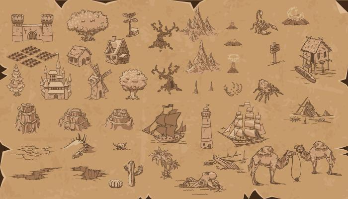 Game Level Map Parchment Assets