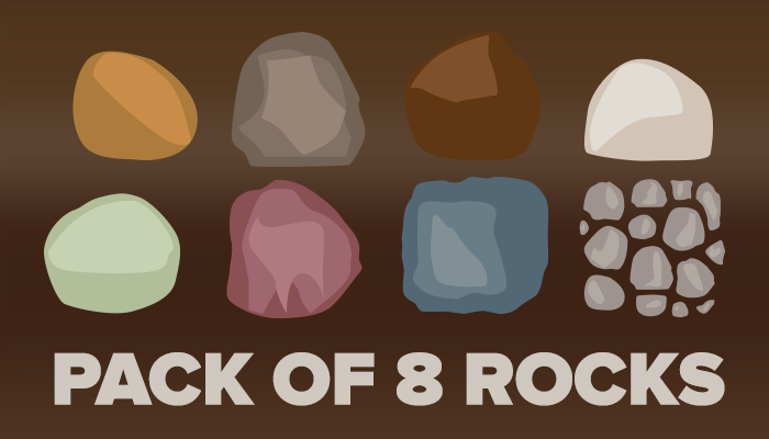 Pack of 8 Vector Rocks
