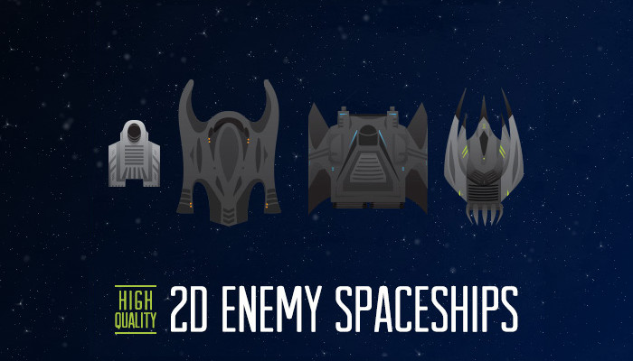 2D Enemy Spaceship – 4 Pack