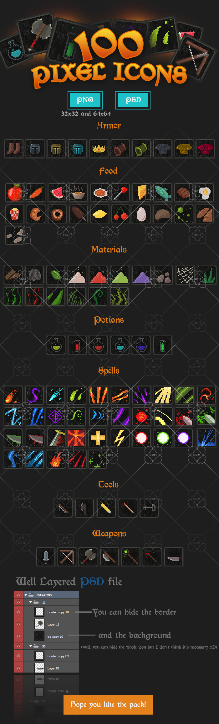 100 Pixel Icons